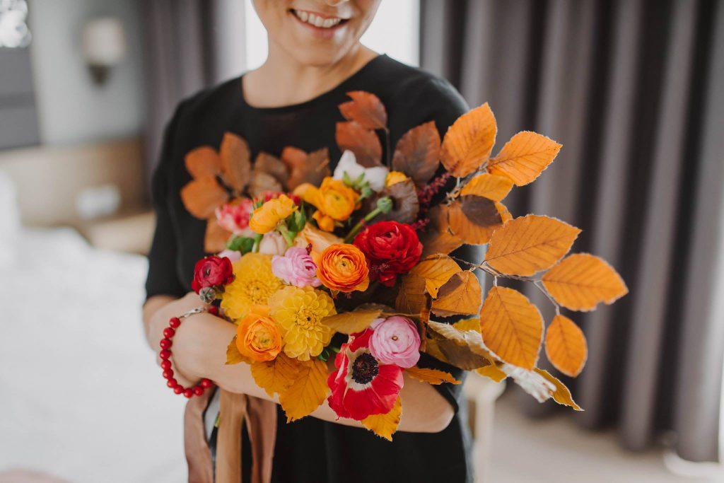 jesienny bukiet ślubny z liści poznań