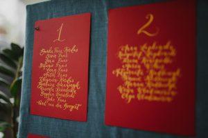 kaligrafowana tablica gości w hotelu herbarium