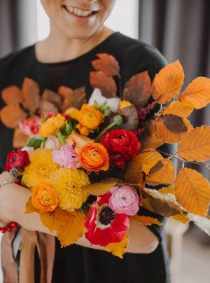 jesienny bukiet ślubny z liści