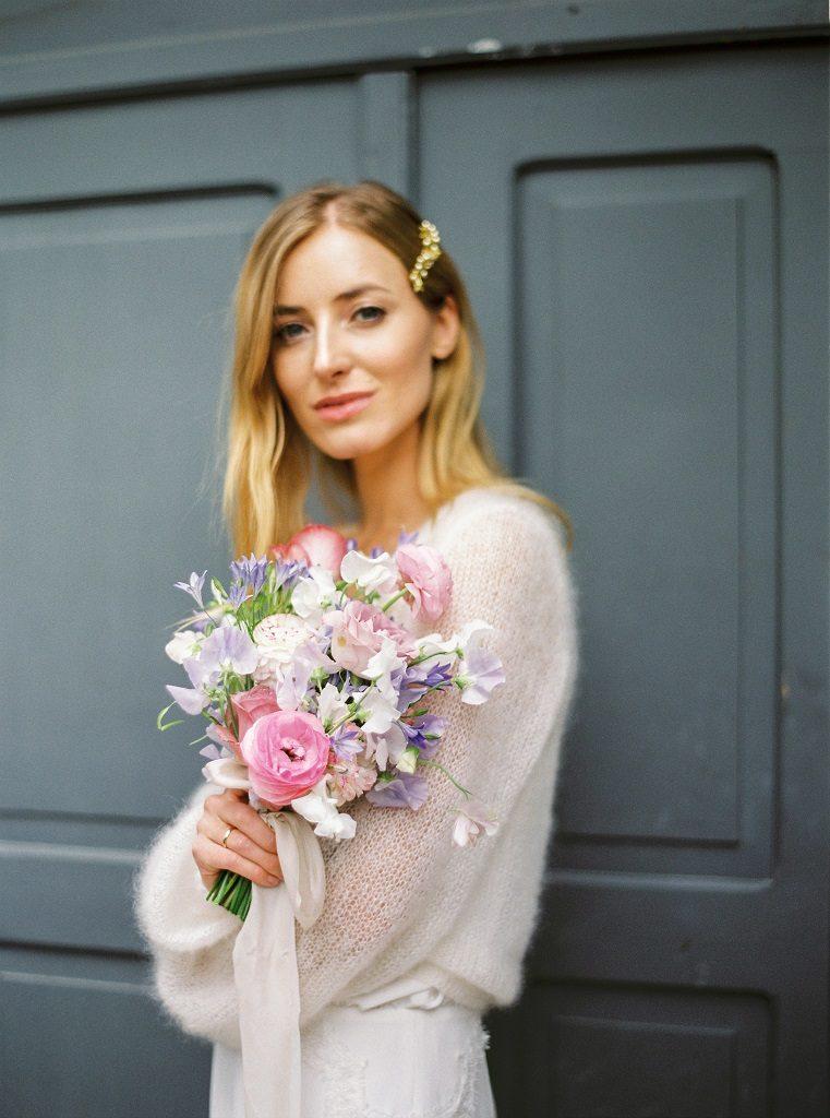 fioletowy bukiet ślubny poznań